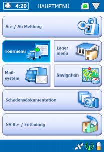 TISLOG Telematiksystem: Software Dialog Hauptmenü