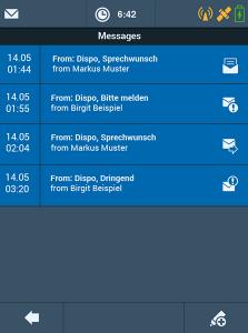 Transport management system TISLOG mobile Enterprise: Software dialog messages