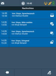 Transport Management-System TISLOG mobile Enterprise: Software-Dialog Nachrichten