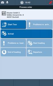 TISLOG mobile Smart fleet management: Software dialog job overview