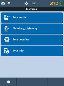 Transport Management-System TISLOG mobile Enterprise: Software-Dialog Tourmenü